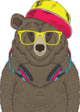 Animated bear with headphones